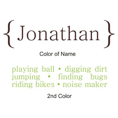 Alphabet Garden Designs Personalized Boy / Girl Definition Wall Decal