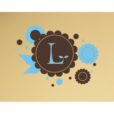 Chocolate Flowers Monogram Wall Decal