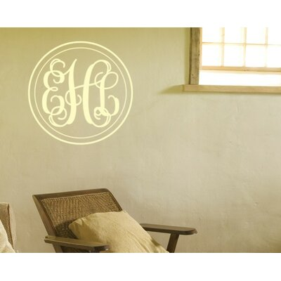 Alphabet Garden Designs Double Circle Fancy Interlock Monogram Wall Decal