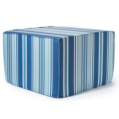 Jiti Thick Stripes Outdoor Ottoman in Blue