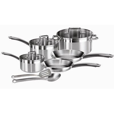 T-fal Elegance Brushed Stainless Steel 10-Piece Cookware Set