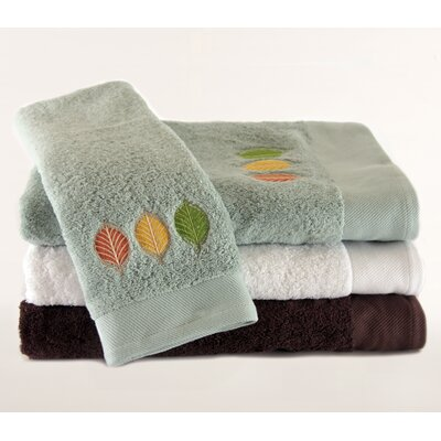 Pure Fiber Streetlight Leaves Embroidered 3 Piece Towel Set