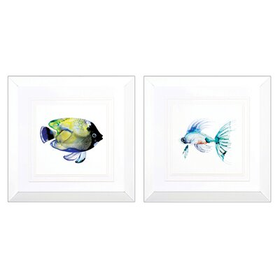 Green Teal 2 Piece Framed Graphic Art Set