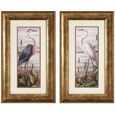 Heron / Egret 2 Piece Framed Graphic Art Set (Set of 2)