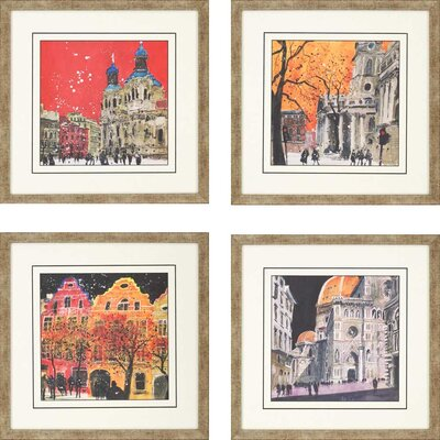 City Views by Brown 4 Piece Framed Graphic Art Set