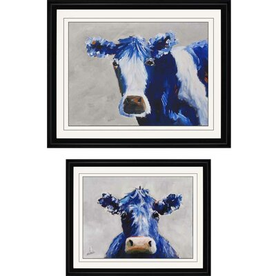 Two Blue Moo's by Nichols 2 Piece Framed Painting Print Set