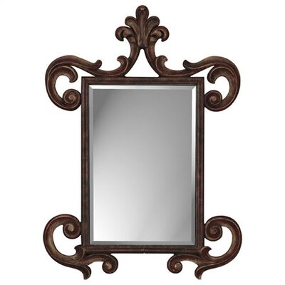 French Aged Wood Finish Rectangle Mirror