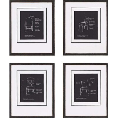 Paragon Chairs on Black by Olson Framed 4 Piece Graphic Art Set