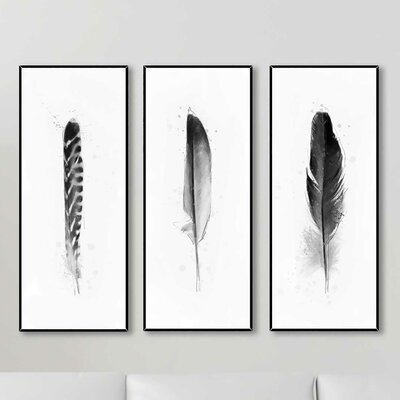 3 piece feathers giclee print framed wall art set wayfair. Black Bedroom Furniture Sets. Home Design Ideas