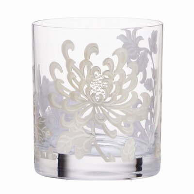 Painted Camellia Crystal Double Old Fashioned Glass