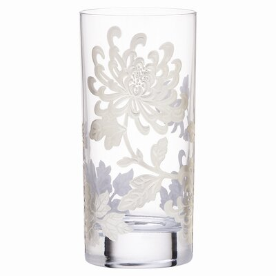 Painted Camellia Crystal Highball Glass