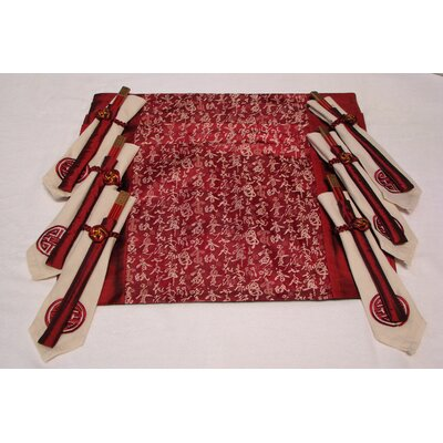 Textiles Plus Inc. Poly Silk Jacquard Placemat in Red (Set of 6)