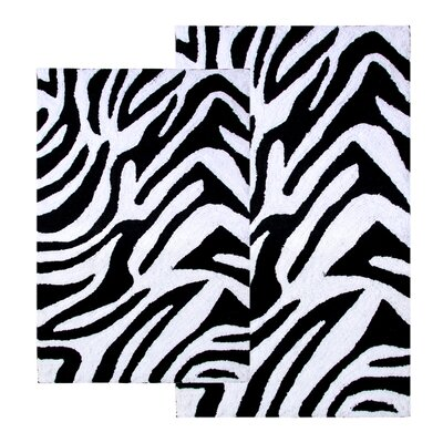 Chesapeake Merchandising Inc. Safari Zebra Contemporary Bath Rug (2 Piece Set)