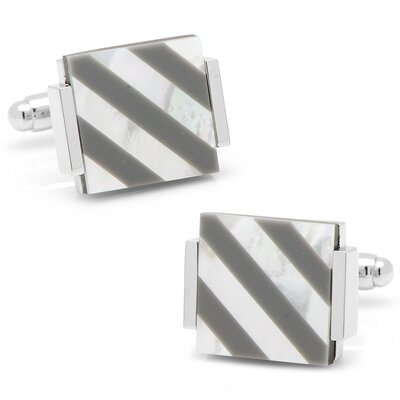 Cufflinks Inc. Silver Plated Hematite and Mother of Pearl Floating Striped Cufflinks