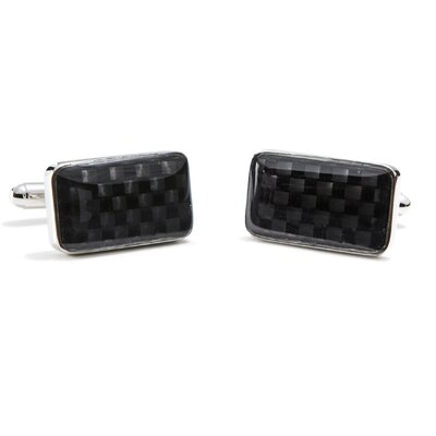 Ox and Bull Rectangular Carbon Fiber Cufflinks