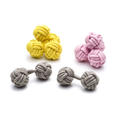 Ox and Bull Knot Cufflinks in Pastel Silk