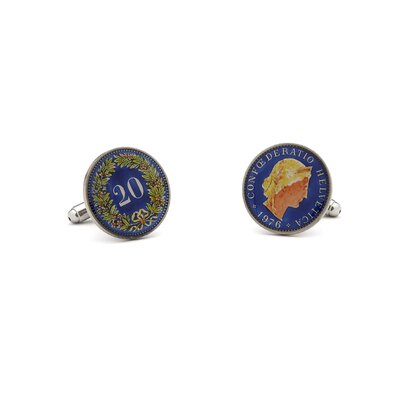 Penny Black 40 Hand Painted Swiss 20 Cent Coin Cufflinks