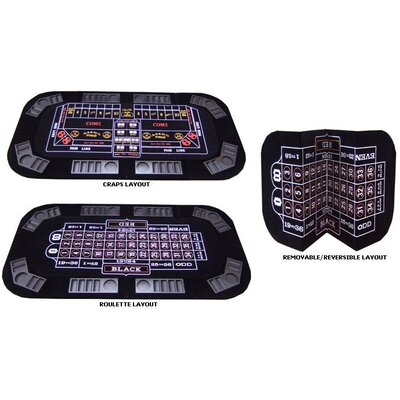 JP Commerce 3 in 1 Poker Craps and Roulette Folding Table Top with Cup Holders