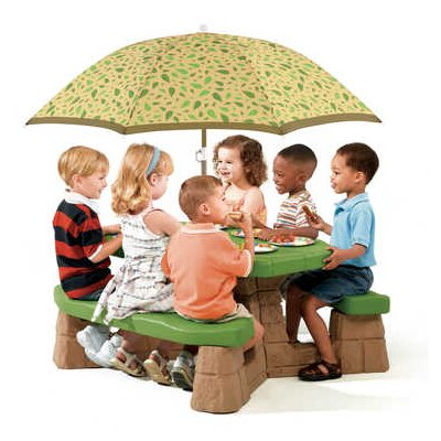 Step2 naturally playful kids picnic table reviews wayfair - Children s picnic table with umbrella ...