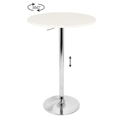 LumiSource Adjustable Bar Table with White Top
