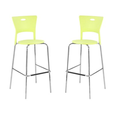 LumiSource Mimi Barstool in Green (Set of 2)