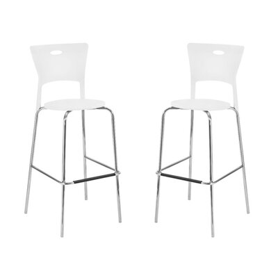 LumiSource Mimi Barstool in White (Set of 2)