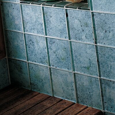 "Daltile Molten Glass 4 1/4"" x 4 1/4"" Multi-Colored Wall Tile in Silver Moon"