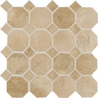 "Daltile Aspen Lodge 12"" x 12"" Octagon Dot Mosaic Field Tile in Morning Breeze"