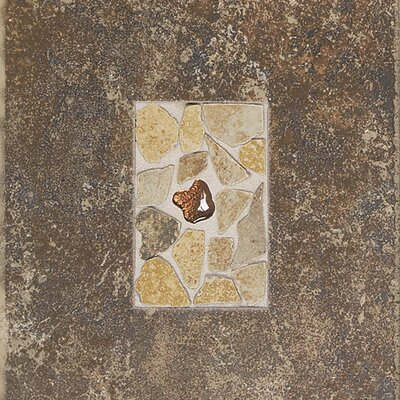"Daltile Castle De Verre 12-13/16"" x 9-13/16"" Decorative Accent Tile in Regal Rouge"