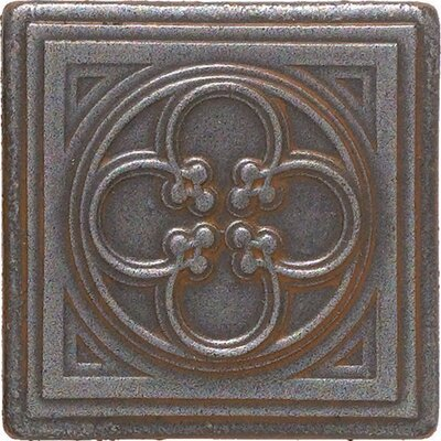 "Daltile Castle Metals 2"" x 2"" Clover Dot Decorative Accent Tile in Wrought Iron"