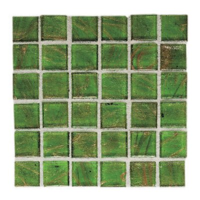 "Daltile Elemental Glass 12"" x 12"" Mosaic Tile in Sour Apple"