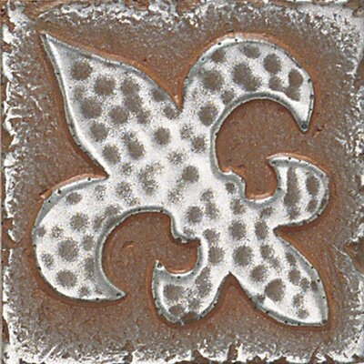 "Daltile Metal Signatures Fleur de Lis 2"" x 2"" Decorative Tile in Aged Iron"