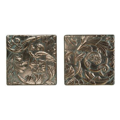 "Daltile Metal Signatures Acanthus Tumbled Stone 6"" x 6"" Decorative Tile in Aged Bronze (Set of 2)"