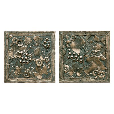 "Daltile Metal Signatures Trellis 4-1/4"" x 4-1/4"" Decorative Tile in Aged Bronze (Set of 2)"