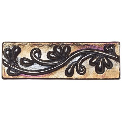 "Daltile Cristallo Glass 3"" x 8"" Decorative Vine Chair Rail in Black Opal"