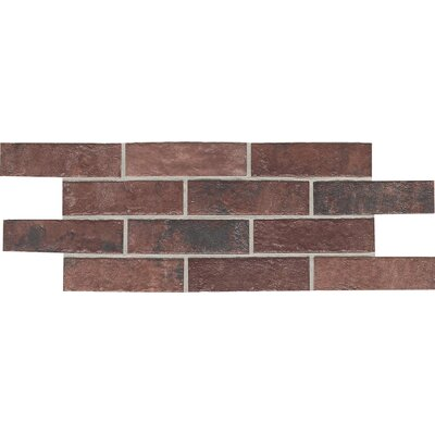 """Daltile Union Square 2-1/4"""" x 8"""" Brick Field Tile in Courtyard Red"""