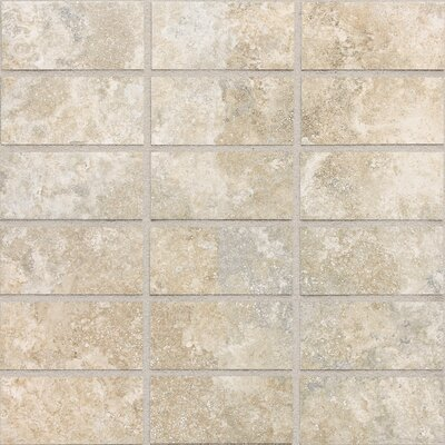 "Daltile San Michele 4"" x 2"" Cross - Cut Mosaic Tile in Crema"