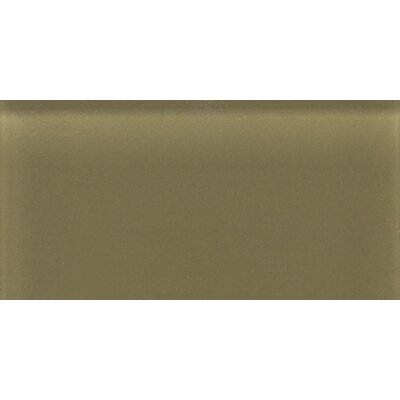 "Daltile Glass Reflections 8-1/2"" x 17"" Frosted Wall Tile in Olive Oil"