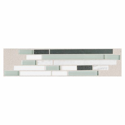 "Daltile Innova 14"" x 3"" Decorative Random Brick Border in Ice Lava"