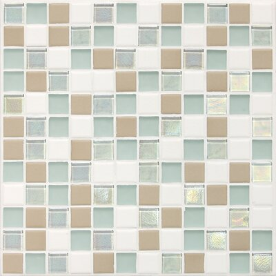 "Daltile Keystones Blends 12"" x 12"" Porcelain with Oceanside Glass Mosaic Tile in Trade Wind"