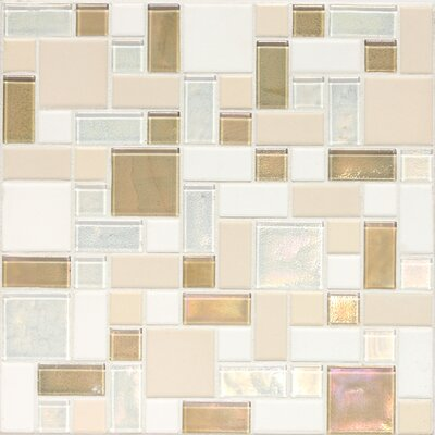 "Daltile Keystones Blends 12"" x 12"" Block Random Porcelain with Oceanside Glass Mosaic Tile in Coconut Beach"