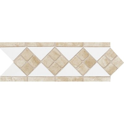 "Daltile Fashion Accents 12"" x 4"" Decorative Listello in Arctic White/Travertine"
