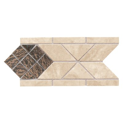 "Daltile Metal Ages 8-1/2"" x 4"" Lancet Glazed Decorative Accent Strip in Sonora Stone/Playa Blanca with Clefted Bronze"