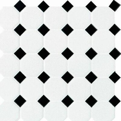 "Daltile Octagon and Dot 2"" x 2"" Mosaic in Matte White with Black Gloss Dot"