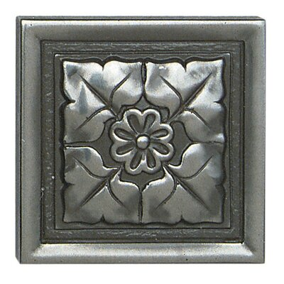 """Daltile Metal Ages 2"""" x 2"""" Romanesque Glazed Decorative Tile Insert in Polished Pewter"""