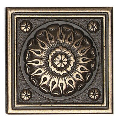 "Daltile Metal Ages 2"" x 2"" Baroque Glazed Decorative Tile Insert in Polished Bronze"