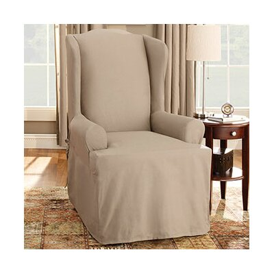 Sure Fit Cotton Duck Wing Chair T Cushion Slipcover