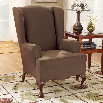 Sure-Fit Stretch Suede Wing Chair T Cushion Slipcover