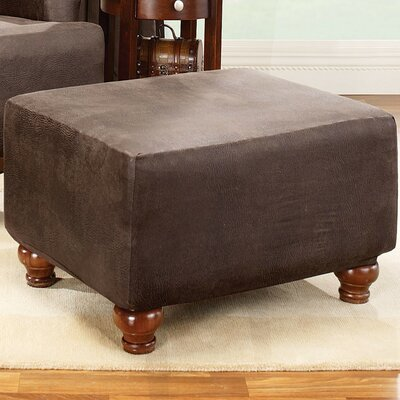 Sure-Fit Stretch Leather Ottoman Slipcover