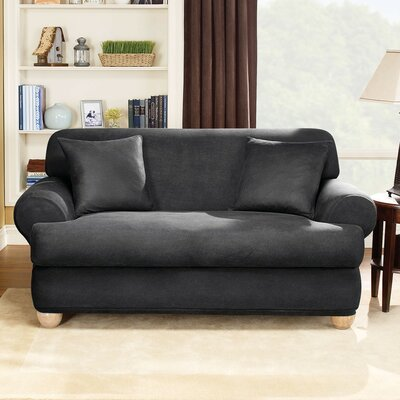 Sure-Fit Stretch Leather Two Piece Sofa T-Cushion Slipcover